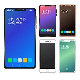 Conjunto de maquete de smartphone móvel moderno.