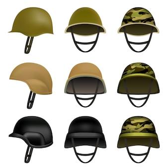Conjunto de maquete de soldado de capacete do exército