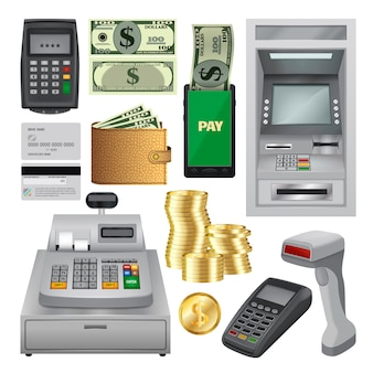 Conjunto de maquete de transações de dinheiro. ilustração realista de 10 maquetes de transação de dinheiro para web