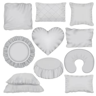 Conjunto de maquete de travesseiro. ilustração realista de 10 maquetes de travesseiro para web