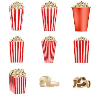 Conjunto de maquete listrado pipoca cinema caixa. ilustração realista de 9 modelos de vetor de caixa de cinema pipoca listrada para web