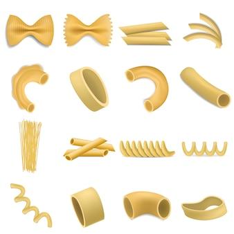 Conjunto de maquete penne massa fusilli. ilustração realista de 16 modelos de penne de macarrão fusilli para web