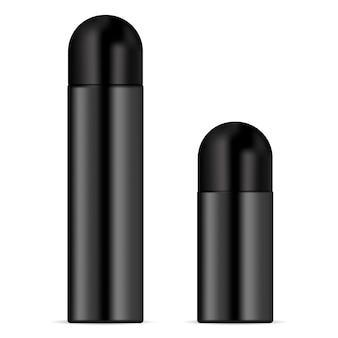 Conjunto de maquete realista 3d desodorante metálico.