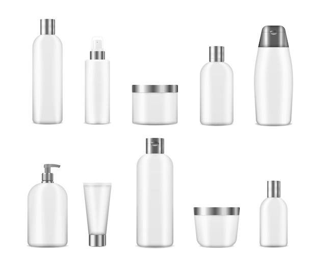 Conjunto de maquete realista cosmético branco garrafas limpas. 3d vários recipientes em branco, incluindo frasco, frasco bomba, tubo de creme isolado em fundo transparente. pacote cosmético realista.