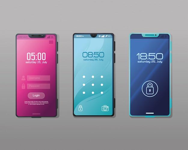 Conjunto de maquete realista de smartphones com aplicativo de segurança na tela
