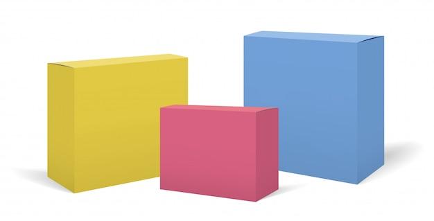 Conjunto de maquetes de caixas coloridas realistas de vetor