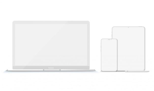 Conjunto de maquetes de dispositivos modernos de argila