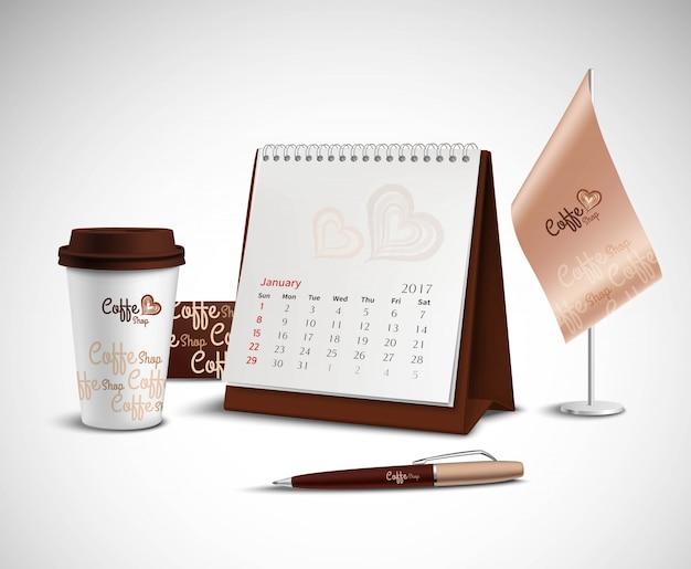 Conjunto de maquetes de identidade corporativa do calendário