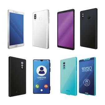 Conjunto de maquetes realistas de smartphones