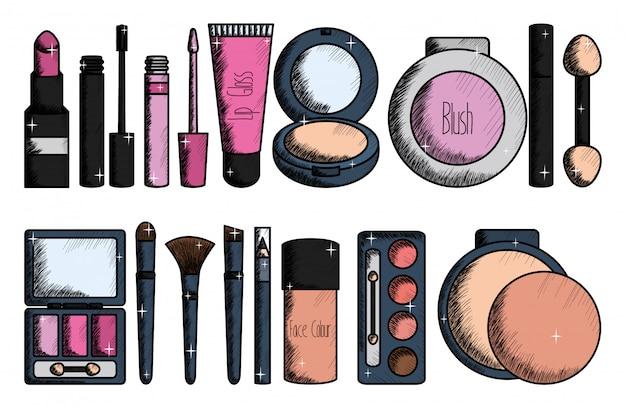 Conjunto de maquiagem acessórios de desenho