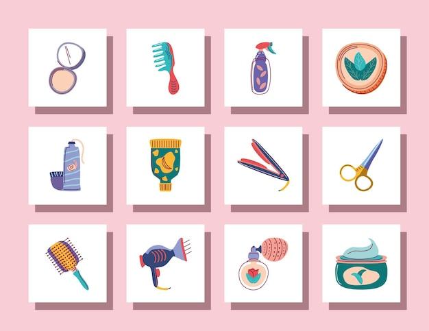 Conjunto de maquiagem, cosméticos, cuidados com os cabelos, perfume