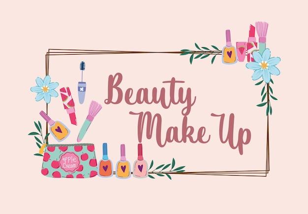 Conjunto de maquiagem de beleza, moda, batom, rímel, creme, loção e ilustração vetorial de decoração de flores