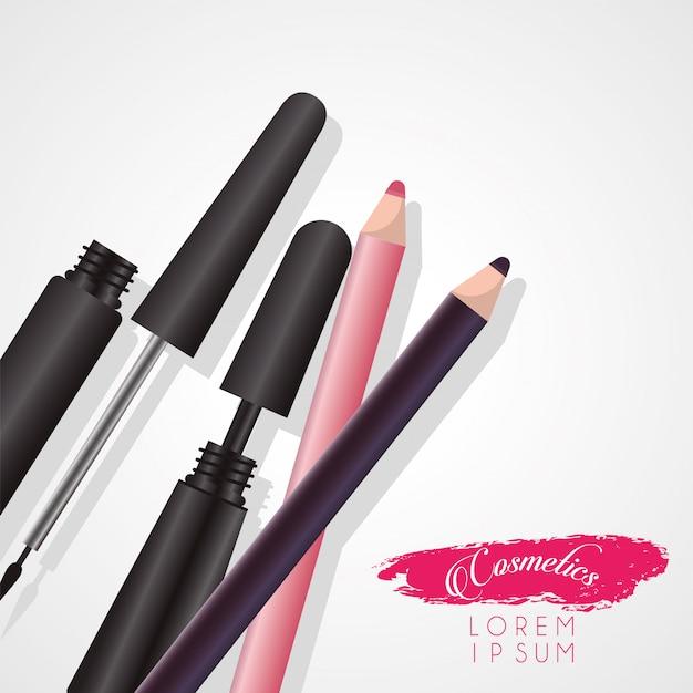 Conjunto de maquiagem de cosméticos com letras em tinta