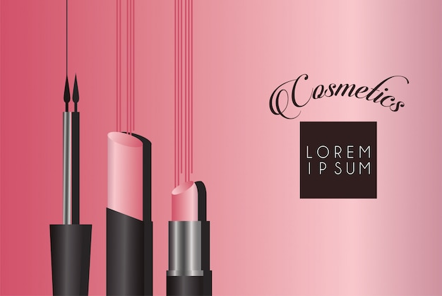 Conjunto de maquiagem de cosméticos com letras