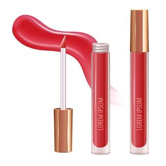 Conjunto de maquiagem para lábios com mancha de creme realista e batom líquido realista.