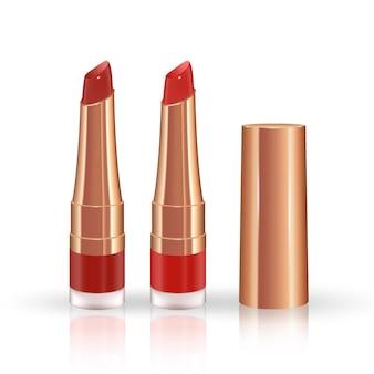 Conjunto de maquiagem para lábios com recipiente de batom líquido realista