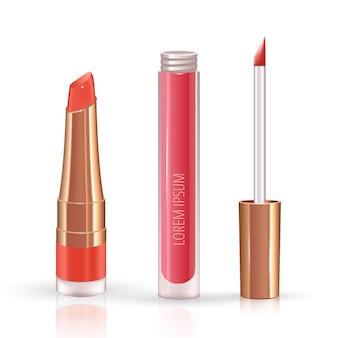 Conjunto de maquiagem para lábios com recipiente para batom líquido realista.