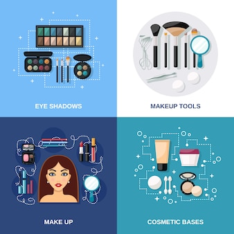 Conjunto de maquiagem plana