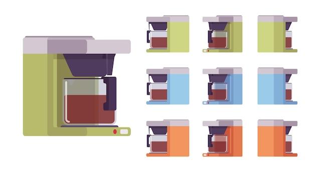 Conjunto de máquina de café, cozinha e equipamento de café