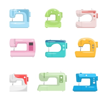Conjunto de máquina de costura de cor isolado no fundo branco