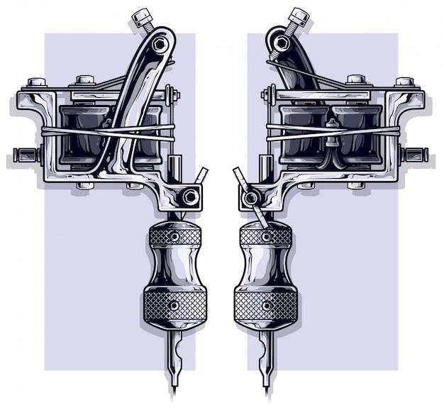 Conjunto de máquina de tatuagem de metal preto e branco gráfico