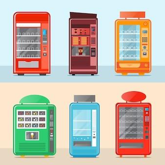 Conjunto de máquina de venda automática em design plano