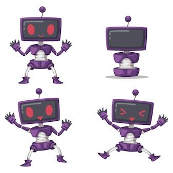Conjunto de máquina futurista de estilo de desenho animado de robô de personagem android para uso doméstico. ilustração isolada tecnologia futurista de objetos cibernéticos.