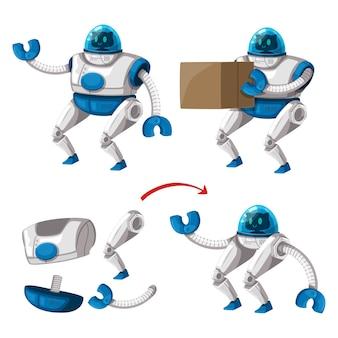 Conjunto de máquina futurista de estilo de desenho animado de robô de personagem android para uso industrial. ilustração isolada tecnologia futurista de objetos cibernéticos.