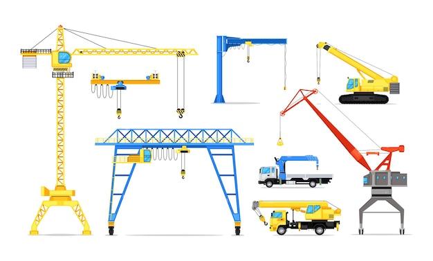 Conjunto de maquinaria industrial de guindaste e mecanismo de torre. veículo de elevação de carga de alta potência e máquina de carregamento de carga com ilustração vetorial de torre e gancho isolada no fundo branco