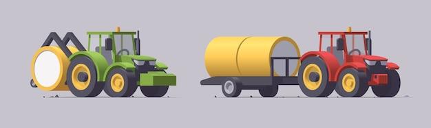 Conjunto de máquinas agrícolas isoladas em cinza