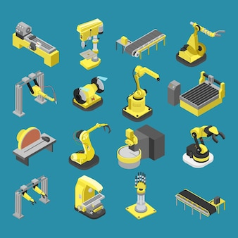 Conjunto de máquinas da indústria de robótica pesada isométrica 3d plana
