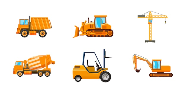 Conjunto de máquinas de construção. conjunto de desenhos animados de máquina de construção
