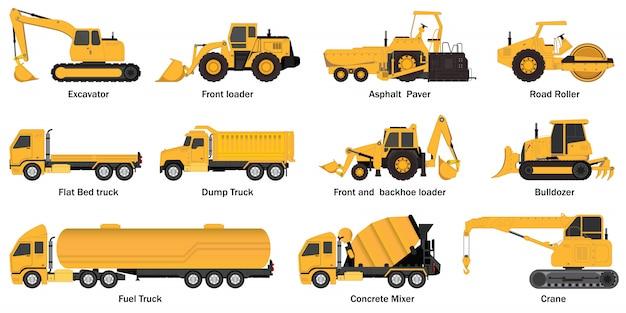 Conjunto de máquinas de construção.