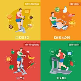 Conjunto de máquinas de exercícios