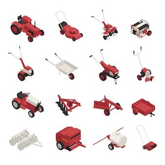 Conjunto de máquinas de jardim de fazenda