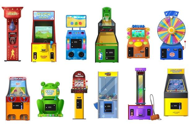 Conjunto de máquinas de jogos de vídeo arcade
