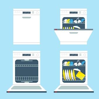 Conjunto de máquinas de lavar louça abertas e fechadas. ilustração de ícones de equipamentos de cozinha.