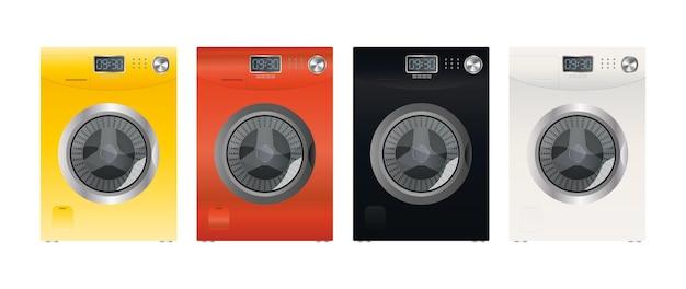 Conjunto de máquinas de lavar modernas, isoladas em um fundo branco. máquina de lavar elegante. estilo realista. vetor.
