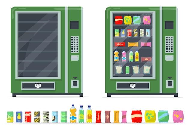 Conjunto de máquinas de venda automática e snacks. batatas fritas, barrinhas, bebidas enlatadas e automatizar com prateleiras vazias.