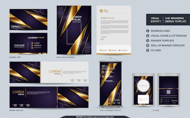 Conjunto de marca de papelaria roxo de luxo e identidade visual da marca com camadas de sobreposição abstratas
