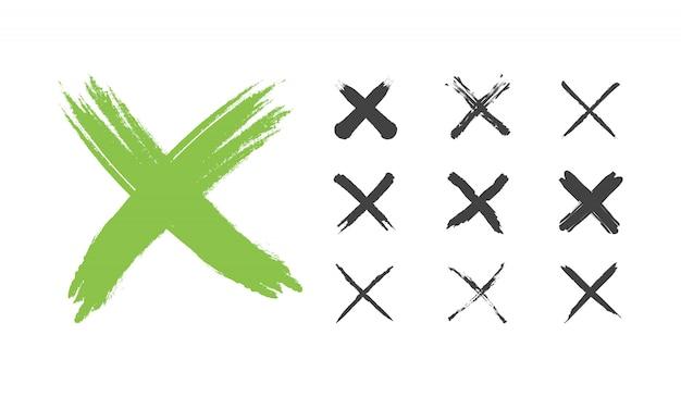 Conjunto de marca de seleção grunge vermelho mão desenhada