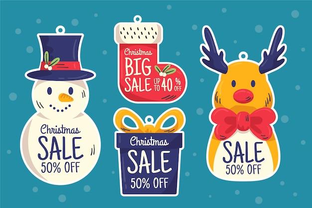 Conjunto de marca de venda de natal de mão desenhada