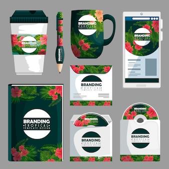 Conjunto de marca produto tropical como livros e envelope cd