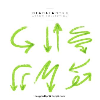 Conjunto de marca-texto setas verdes