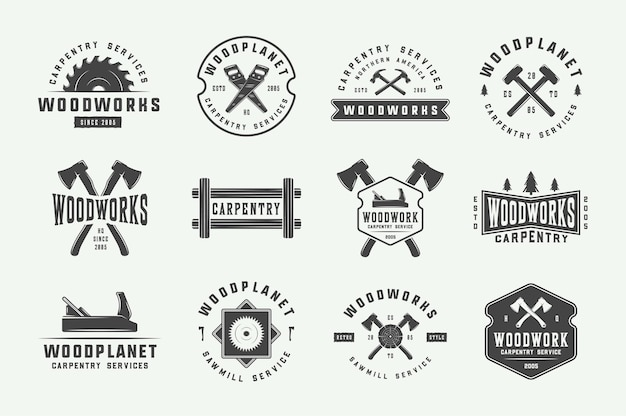 Conjunto de marcações de carpintaria vintage, emblemas, emblemas e logotipo. ilustração vetorial