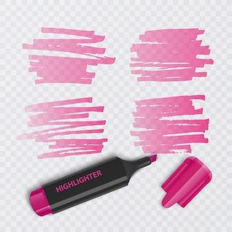 Conjunto de marcadores coloridos com elementos de realce isolados.