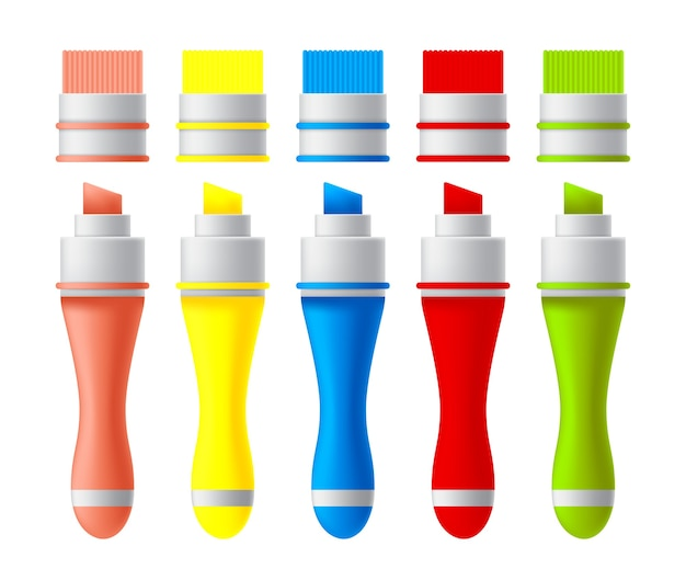 Conjunto de marcadores coloridos.