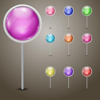 Conjunto de marcadores com esferas multicoloridas