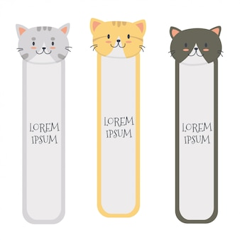 Conjunto de marcadores de gato bonito