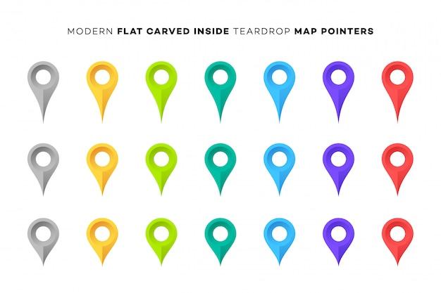 Conjunto de marcadores de mapa colorido.